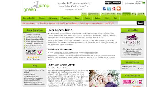 voorbeeld goede over ons pagina greenjump webshop