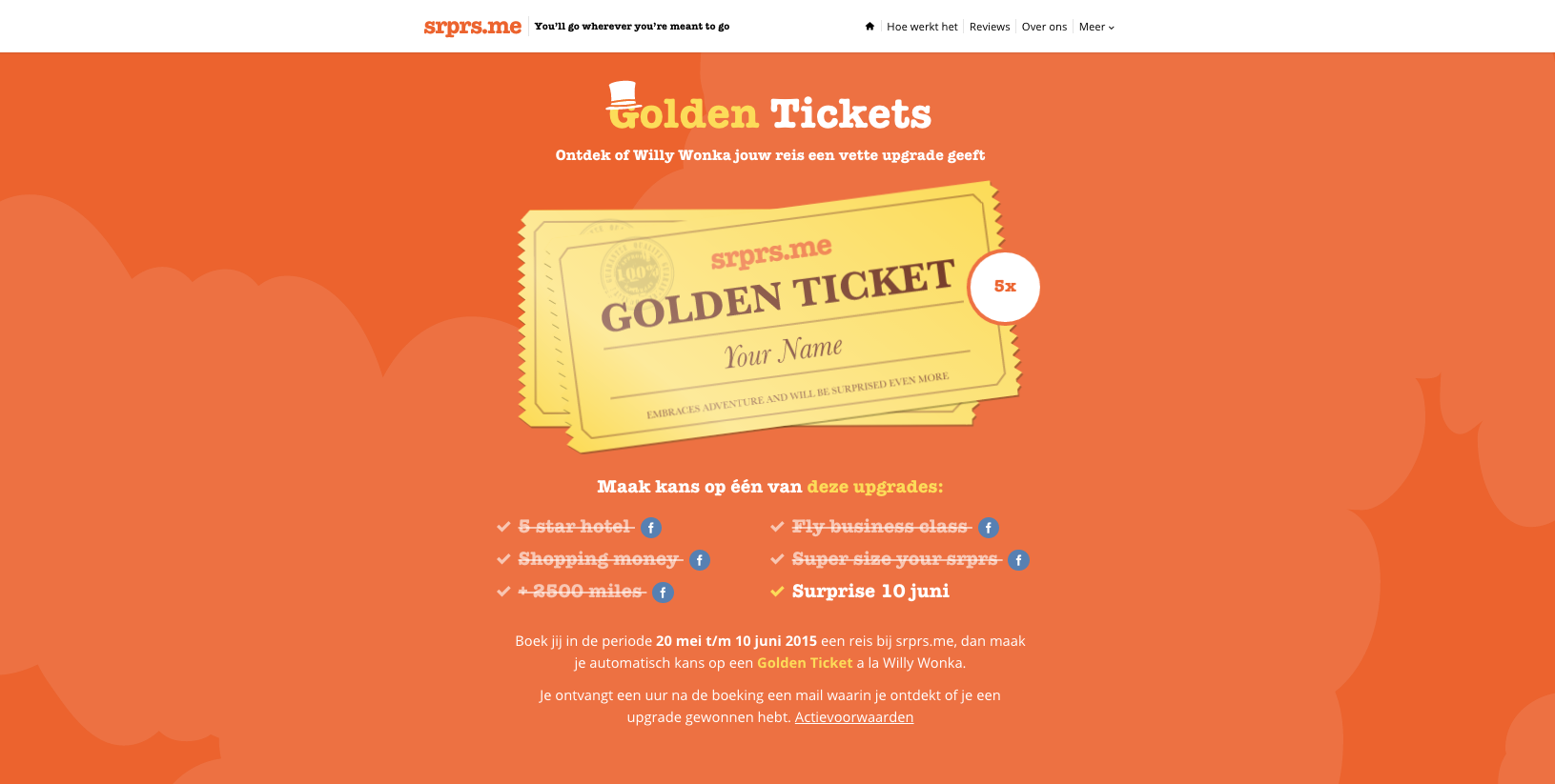 landingspage golden tickets marketing campagne srprsme